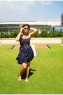 Blue-kashieca-dress-silver-vintage-belt-topshop-glasses-gold-sm-dept-store