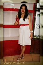 white Zara dress - red coach purse - red Dorothy Perkins belt