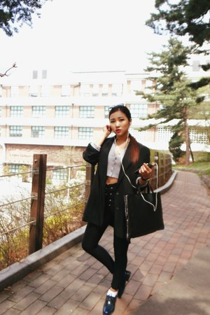 black Michael Kors jacket - navy Clarks boots - black Topshop bag
