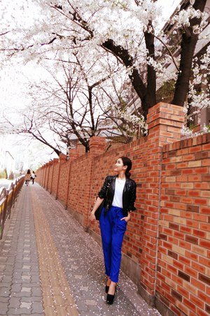 black American Apparel jacket - blue Zara pants - white Guess top