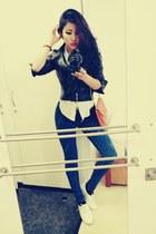 white Clarks shoes - blue Calvin Kleins jeans - black Zara jacket
