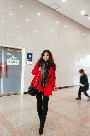 red Forever 21 coat - gray Zara scarf - black Jeffrey Campbell bag