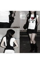 white shirt - black DKNY vest - black shorts - black boots