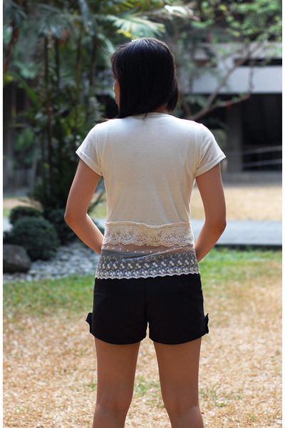 black shorts - white Dress Up Diary cardigan