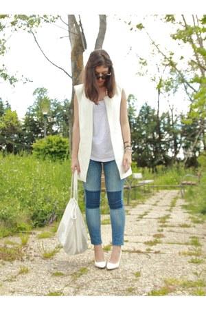 white Zara vest - white Mango pumps