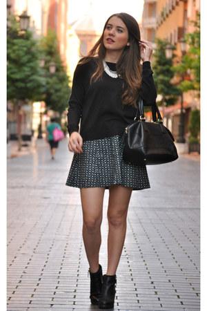 Pull and Bear boots - Mango sweater - homemade skirt