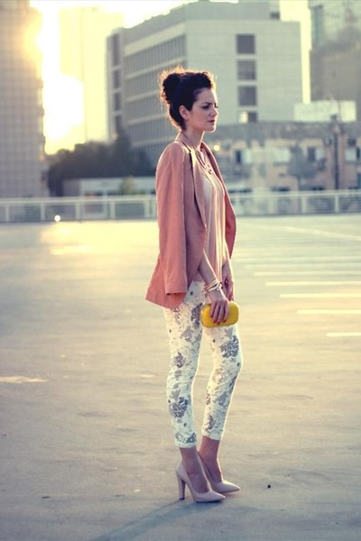 flowers print Zara pants - pink blazer H&M jacket - yellow H&M bag