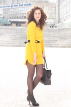 yellow chic Zara dress - black vintage belt