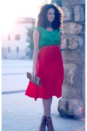 nude Zara boots - red vintage vintage skirt