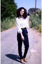 navy zara Zara pants - cream vintage blouse