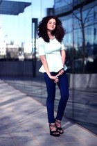 sky blue romantic H&M top - navy miss nrg jeans