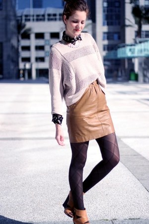 vintage skirt - fashion H&M sweater - Zara blouse
