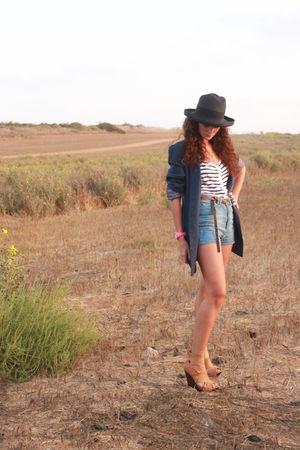 blue Zara shorts - white Topshop top