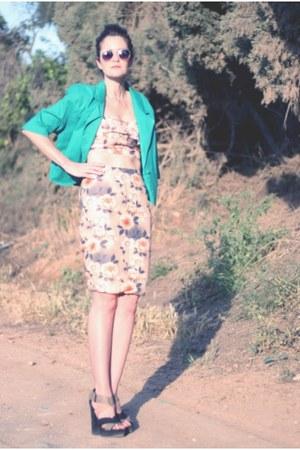 aquamarine vintage jacket - eggshell H&M skirt - eggshell fashion H&M bra