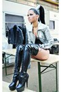 Black-christian-louboutin-boots-silver-h-m-jacket