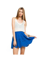 LIGHTEN UP LASER CUT SKIRT -COBLAT BLUE SCALLOPED HEM