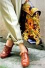 Burnt-orange-lace-up-oxfords-bestfinds-thriftshop-shoes-vintage-floral-bestfin