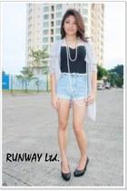 silver runway cardigan - black runway dress - brown runway skirt - beige runway