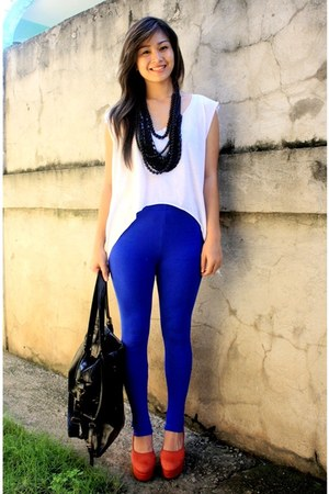 blue random brand leggings - red Pierre Balmain shoes - white diy cropped top