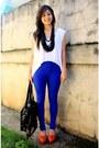 White-blue-random-brand-leggings-red-pierre-balmain-shoes-black-random-bra