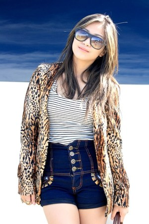 leopard print custom made blazer - navy diy studded bought from Baclaran shorts