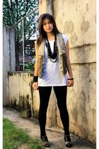 white random brand t-shirt - black WAGW leggings - vest - shoes