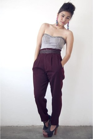 silver BESTFINDS THRIFTSHOP top - maroon BESTFINDS THRIFTSHOP pants