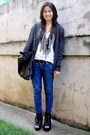 Heather-gray-kultura-cardigan-white-espirit-top-blue-bench-jeans-black-par