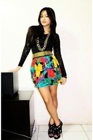 BEST FINDS THRIFTSHOP blouse - random brand skirt - random brand shoes - belt