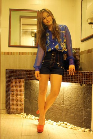 blue thrifted top - red Balmain shoes - navy from Baclaran shorts