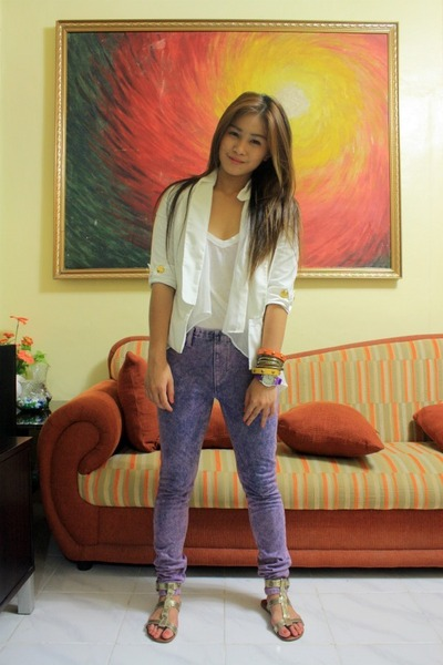 white sm department store blazer - ivory Esprit top - amethyst thrifted pants