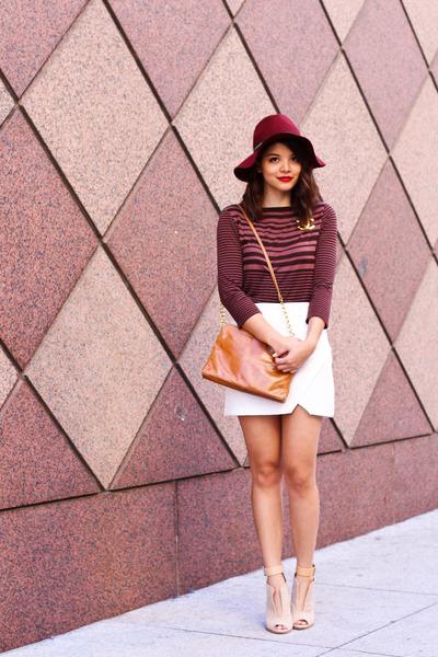 crimson H&M hat - tawny Hobo bags bag - nude wedges strap Zara heels