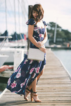 navy floral Urban Outfitters dress - ivory vintage Chanel bag