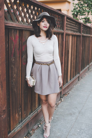tan Filthy Magic skirt - dark brown Urban Outfitters hat - gold clutch DSW bag