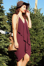 Maroon-belle-fig-color-last-night-dress-camel-target-coat