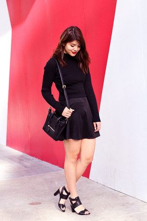 black Mimi Boutique bag - black skater Charlotte Russe skirt - black Zara top