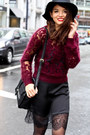 Black-urban-outfitters-hat-crimson-h-m-sweater