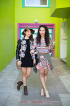 dark brown LuLus boots - black LuLus dress - black floral bomber LuLus jacket
