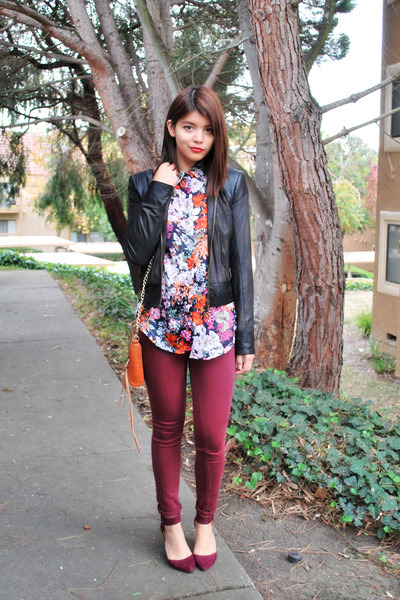 crimson skinny Urban Outfitters jeans - dark brown leather Bebe jacket