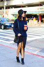 Navy-madewell-boots-black-urban-outfitters-hat