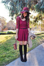 Black-ivanka-trump-boots-brick-red-lace-charlotte-russe-dress