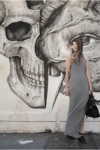 black Freda Salvador boots - navy maxi stripe Dolce Vita dress