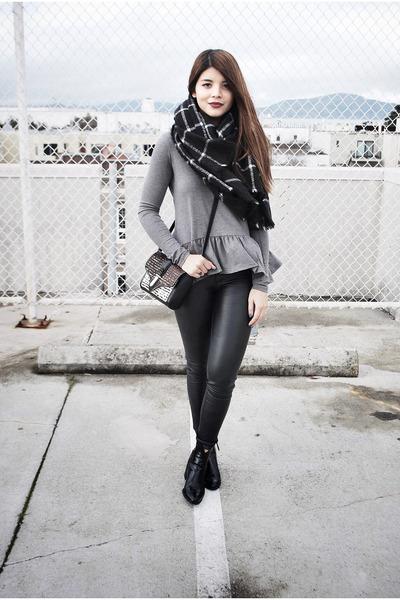 black Zara scarf - black Zara boots - dark brown Zara bag