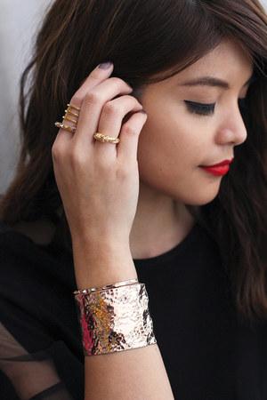 gold rings bracelets Svelte Metals accessories - black Zara top