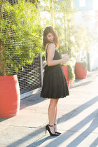 black glitter whisper French Connection dress - gold clutch DSW bag