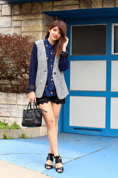 blue tweed blazer JYJZ jacket - navy alanis obey shirt - black Mimi Boutique bag