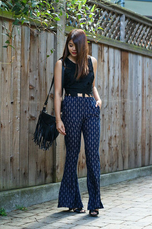 black cropped lush LuLus top - navy bell bottom LuLus pants