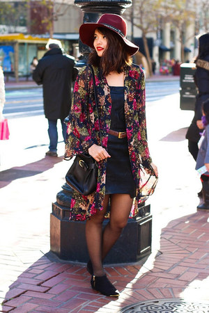 black Prima Donna boots - black Crossroads Trading dress - brick red H&M hat