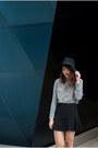 Beige-suede-asos-boots-black-urban-outfitters-hat-black-zara-skirt