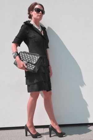 black DiY sewing dress - black Chanel bag - black Chanel bracelet